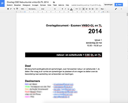 Google Docs overlegdocument